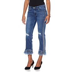 Wendy Williams Distressed Denim Boyfriend Jean with Foil Print