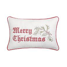 Wenham Holly Merry Christmas Embroidered Pillow