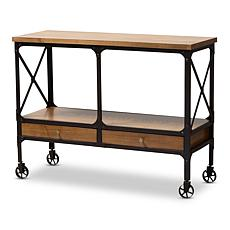 Wholesale Interiors Alves Wood & Metal Wheeled Console Table w/Drawers