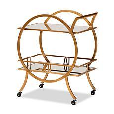 Wholesale Interiors Arsene Metal & Glass 2-Tier Mobile Bar Cart