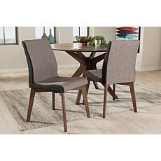 Wholesale Interiors Kimberly Fabric 2pc Dining Chair Set - Beige/Brown