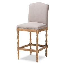 Wholesale Interiors Paige Upholstered Bar Stool - Weathered Oak/Beige