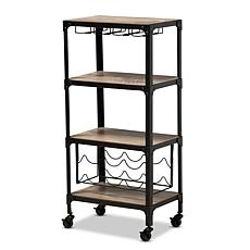 Wholesale Interiors Swanson Metal & Wood Mobile Kitchen Bar Wine Cart