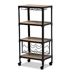 Wholesale Interiors Swanson Metal & Wood Mobile Kitchen Bar Wine Cart