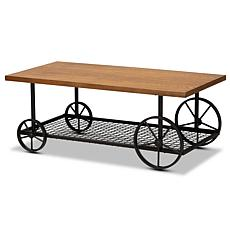 Wholesale Interiors Ursa Wood and Metal Wheeled Coffee Table