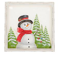 Wind and Weather Painted Holiday Wood and Screen LED  Wall Art