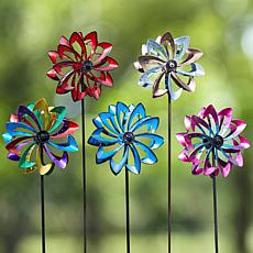 Wind and Weather Solar LED Flower Wind Spinner