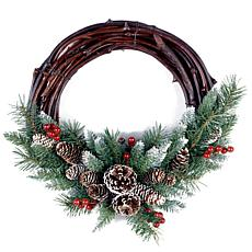 "Winter Lane 16"" Frosted Berry Grapevine Wreath"