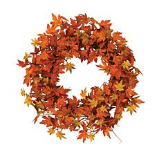 "Winter Lane 24"" Harvest Orange and Yellow Maple Leaf Wreath"