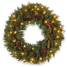 "Winter Lane 24"" Pine Cone Wreath w/Lights"