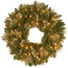 "Winter Lane 30"" Carolina Pine Wreath w/Lights"