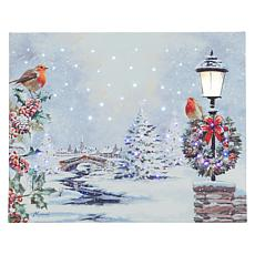 "Winter Lane 8"" x 10"" Robin's Village Fiber-Optic Canvas"