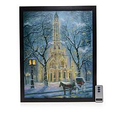 Winter Lane Fiber-Optic Lit Canvas Art w/Remote - Chicago Water Tower