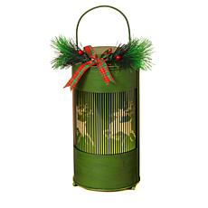 Winter Lane Kinetoscope Holiday Lantern with Pine Accent
