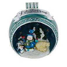 Winter Lane Large Resin LED Ornament with Holiday Scene