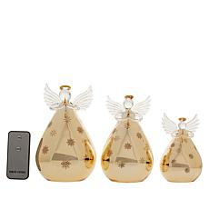 Winter Lane Mercury Glass Angels - Set of 3