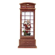 Winter Lane Musical Lighted Phone Booth Snow Globe - Santa