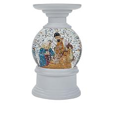 Winter Lane Nativity Water Globe Candle Holder with Timer