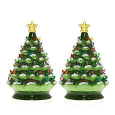 winter lane set of 2 lighted musical ceramic christmas trees - Green Christmas Decorations
