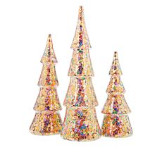 Winter Lane Set of 3 Lighted Glitter or Sequin Glass Christmas Trees