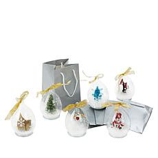 Winter Lane Set of 6 Illuminated LED Glass Ornaments with Gift Bags