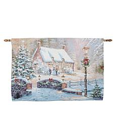 Winter Lane Winter Cottage Fiber-Optic Holiday Tapestry