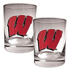 Wisconsin Badgers 2pc Rocks Glass Set