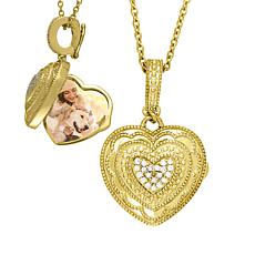 "With You Lockets™ Gold-Plated ""Rose"" .08ctw Diamond Heart Locket"