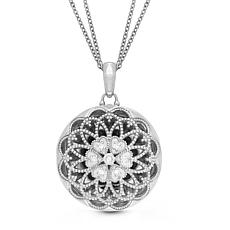 """With You Lockets™ Sterling Silver """"Elaine"""" .07ctw Diamond Locket"""