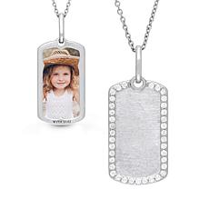 "With You Lockets™ Sterling Silver ""Meagan"" Dog Tag Photo Pendant"