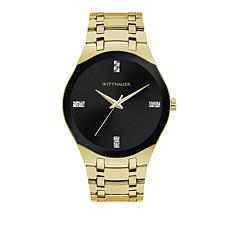 Wittnauer Men's  Diamond Goldtone Black Dial Modern Watch