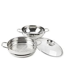 """Wolfgang Puck 12"""" Chef's Pot w/Steamer Insert and Lid"""