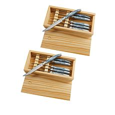 Wolfgang Puck 12pc High Carbon Steel Steak Knife Set w/Wood Gift Boxes