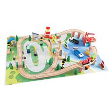 Wooden Train Set with Play Mat for Kids by Hey! Play!