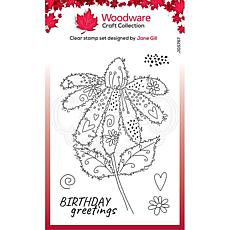 """Woodware Clear Singles 4"""" x 6"""" Stamp - Fuzzy Flowers - Daisy"""