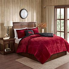 Woolrich Alton 3-piece Red/Black Plush to Sherpa Twin Comforter Set