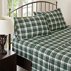 Woolrich Cotton Flannel Green Sheet Set - Queen