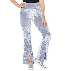 WVVY Velour Slit Flare-Leg Pull-On Pant