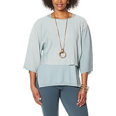 WynneLayers 2-Tone Ribbed Knit Cropped Popover Sweater