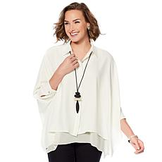 WynneLayers Button Front Unstructured Shirt