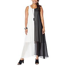 WynneLayers Chiffon Sleeveless Colorblocked Maxi Dress