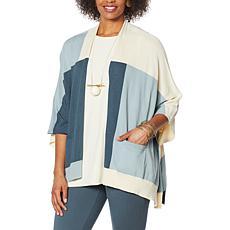 WynneLayers Colorblocked Sweater Knit Poncho Cardigan