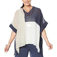 WynneLayers Colorblocked V-Neck Poncho