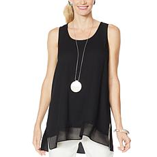 WynneLayers Crepe Tank with Chiffon Hem