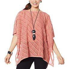 WynneLayers Diamond Jacquard Fringed Chiffon Poncho