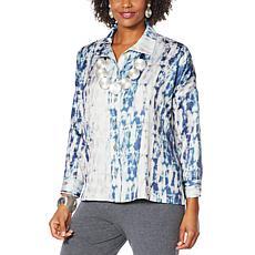 WynneLayers Satin Marble Unstructured Shirt