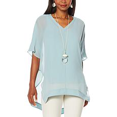 WynneLayers Sheer V-Neck Cocoon Tunic