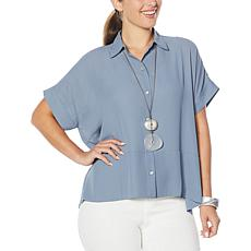 WynneLayers Short-Sleeve Button-Up Square Shirt