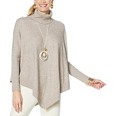 WynneLayers Soft Knit Ribbed Trim Sweater Poncho