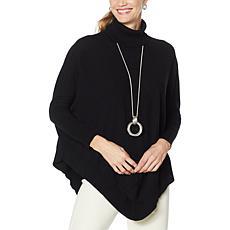 WynneLayers Soft Knit Ribbed Trim Sweater Poncho
